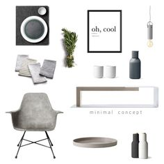 """""""MINIMAL TABLE"""" by tiziana-melera ❤ liked on Polyvore featuring interior, interiors, interior design, home, home decor, interior decorating, Lyon Béton, Menu, Crate and Barrel and design"""