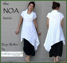 BRYN WALKER Light Linen NOA Tunic. Huge oversized cowl neckline, easy slip-on styling. This dress/tunic has barely-there cap sleeves and a wonderful asymmetrical design that is flattering on nearly every body out there! | eBay!