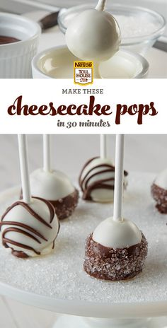 On a stick. In just 30 minutes. Learn how to make this irresistible Nestle Toll House dessert in a few simple steps. (mini desserts on a stick) Mini Desserts, Just Desserts, No Bake Desserts, Delicious Desserts, Dessert Recipes, Yummy Food, Oreo Dessert, Cheesecake Pops, Cheesecake Recipes