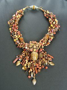 """Katmandu Sunrise"" Freeform beaded necklace by Cindy Chavez"