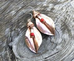 ●HAMMERED COPPER LEAVES EARRINGS●