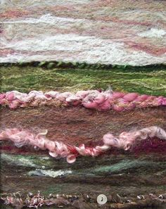 'Pink Field', needle felting, art yarns