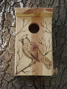 Birdhouse with Woodburned Cardinal by WoodburnedBirdhouse on Etsy, $24.00