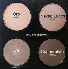 Nude MAC Eyeshadows: Orb - light peachy beige, Naked Lunch - soft pink w/ shimmer, Era - light golden beige w/ shimmer & Copperplate - soft matte grey. #macmakeupeyeshadow