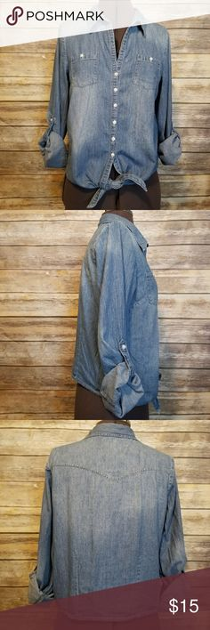 L.e.i  button down denim tie-up top - Can be worn as long sleeves with button up ends or cuffed and buttoned.  - Button down w/ 2 front button pockets. - Very lightweight L.e.i. Tops Button Down Shirts