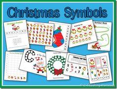 Free Preschool Printables: Christmas Symbols Set and Lesson Plan Preschool Christmas, Christmas Activities, Christmas Themes, Christmas Holidays, Christmas Crafts, Christmas Nativity, Christmas Goodies, Xmas, Free Preschool