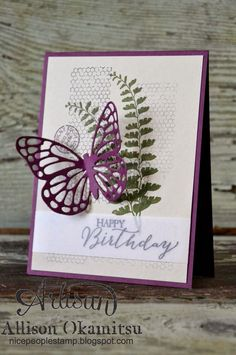 nice people STAMP!: Stampin Up! Butterfly Basics Card by Allison Okamitsu. Check out this new stamp set and framelits! The butterflies are so intricate and beautiful.