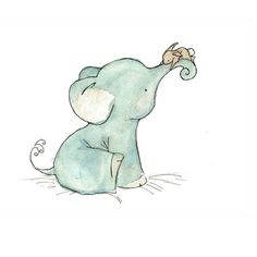 this is the sweetest little elephant print ever.  From trafalgarssquare on Etsy.