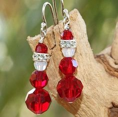 Santa Christmas Earrings Swarovski Crystal Sterling Handmade Siam Red | ShadowDogDesigns - Jewelry on ArtFire