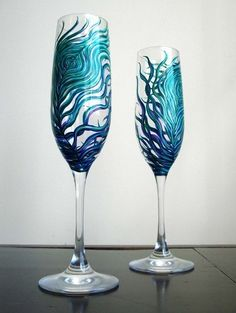 Peacock Wedding Toasting Flutes--Set of 2 Personalized Champagne Flutes from marywibis $78.00