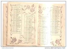 calendario del tipo in uso dai barbieri anno 1939