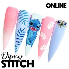 Colourful Acrylic Nails, Disney Acrylic Nails, Disney Nails, Cute Acrylic Nails, Aycrlic Nails, Dope Nails, Fun Nails, Disney Stitch, Hawaiian Nail Art