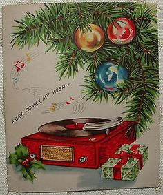 Record Player Greeting 1950's Vintage Christmas Greeting Card | eBay