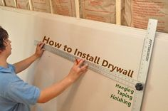How to Install Drywall (with 75 pics): Hanging, Taping, Finishing. We will definately need this since we are building a new house Home Remodeling Diy, Basement Remodeling, Home Renovation, Kitchen Remodeling, Basement Ideas, Rustic Basement, Modern Basement, Basement Makeover, Home Improvement Loans