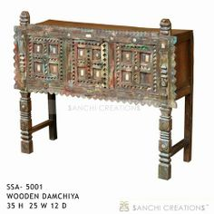 WoodenDamchiya  Wooden Damchiya a piece of furniture intended to stand at the side of a dining room, with door and space for storage etc. Wooden Damchiya a board that forms part of the side of a bed .Esay way to add spiritual look to your home with the use of statues on Wooden Damchiya. http://www.sanchicreations.com/product/5001/