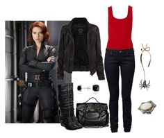 """The Avengers - Black Widow"" by icebubbletea ❤ liked on Polyvore featuring Mulberry, AllSaints, Witchery, Roberto Vianni, Sara Weinstock, VIOLET DARKLING and Blue Nile"