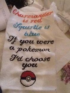 Cross stitch pokemon phrase for nerdy boyfriend /boyfriend