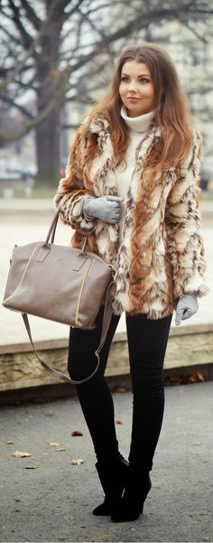 Winter Classic Layers - Faux Fur Outerwear with Black Skinnies and Knit Sweater by A Piece of Anna