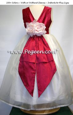 Red & Ivory Silk Holiday Flower Girl Dress Style 313 by Pegeen.com