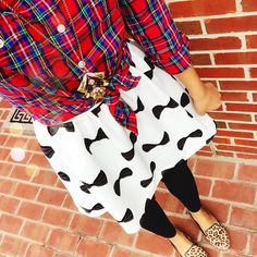 old navy red plaid button down + j crew inspired pendant necklace via eBay + HM bow dress worn as skirt + charlotte russe leggings + target style leopard print loafers {casual}