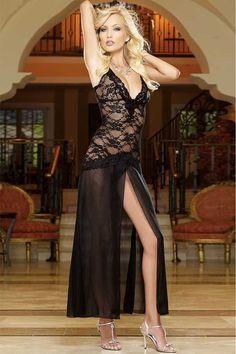 615902bf07 Black V Neck Lace Bodice Slit Front Long Gown. Lingerie SetLingerie ...