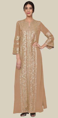 Camel Beige Gold Gota Patti Embroidered Kaftan Gown Gota Patti Lehenga, Gota Patti Suits, Kaftan Pattern, Kaftan Gown, Eastern Dresses, Kurti Patterns, Abaya Designs, Bridal Blouse Designs, Abaya Fashion