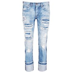Tortoise Distressed knit repair foldup cuff straight jeans ($525) ❤ liked on Polyvore featuring jeans, pants, blue, cuffed jeans, cropped jeans, distressed boyfriend jeans, relaxed fit jeans and ripped jeans
