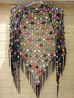 """Black Fringed Beaded Triangle Shawl Polka Dot Lace Crochet Shawl Wrap with tassel with bubbles of vibrant color, subtle iridescent beading throughout the body of the piece simple tassel trim shawl elegant lacy sexy shawl with trim tassel, made with rayon  tassel shawls measure 55"""" wide at the top."""