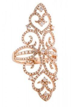 14k Rose Gold Diamond Filigree Ring
