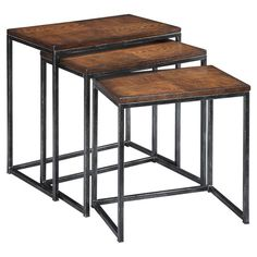 Wish these had leather tops, think that would be really cool. Craft a lovely vignette in the living room or display an array of framed photos in the den with this rustic-chic nesting table set, showcasing an open metalw...