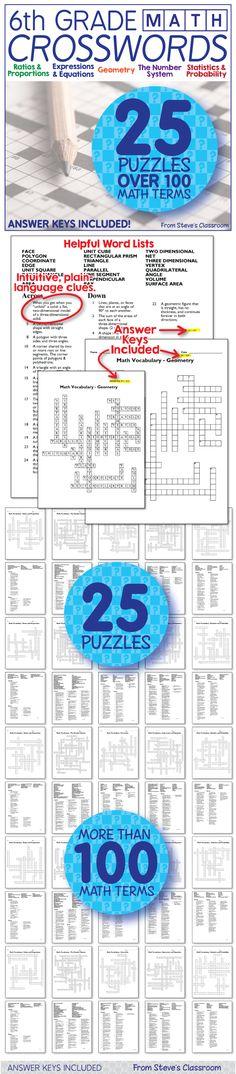 6th grade math vocabulary crossword puzzles! New Product! These sixth grade math crossword puzzles are half off until Sunday Oct. 18!