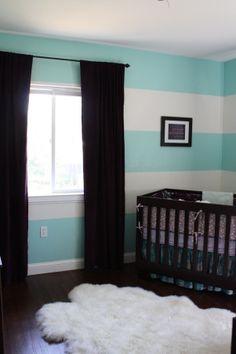 Aqua striped nursery and great matching decor