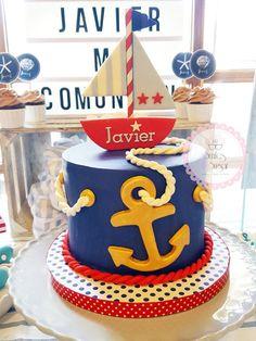 Fiesta chechl Nautical Birthday Cakes, Nautical Cake, Nautical Party, Boss Birthday, Baby Boy Birthday, Happy Birthday, Anchor Baby Showers, Baby Shower Cakes, Themed Cakes