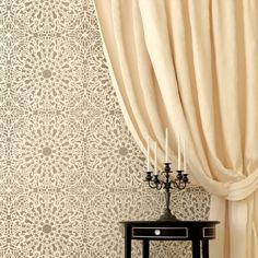Stephanie's Lace Allover Stencil. Buy it here for only $59.95 >>  http://www.cuttingedgestencils.com/lace-stencil-wall-decor-stencils.html?utm_source=JCG&utm_medium=Pinterest&utm_campaign=Stephanie's%20Lace%20Allover%20Stencil  #geometric #wall #stencils