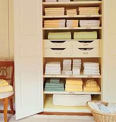Linen Closet... very well organised. However, I prefer rolling linen, rather than folding them and stacking them.