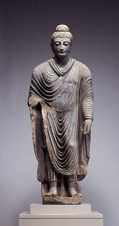 Standing Buddha ProvenancePakistan, Gandhara PeriodSecond half of the 2nd century A.D. MaterialsSchist DimensionsH-250
