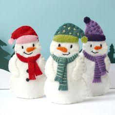 Snowman Trio - 3 Wool Felt Finger Puppets