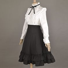 Long Sleeve White Blouse and Knee-length Black Skirt Cotton School Style Classic Lolita Outfit Free Shipping US $69.99