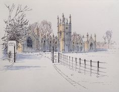 The Almshouses at Aberford in West Yorkshire ~ sketch ~ John Edwards Watercolor Painting Techniques, Pen And Watercolor, Watercolor Landscape, Painting & Drawing, Watercolor Paintings, Watercolours, Illustrations, Illustration Art, Pen And Wash