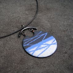 Enamel Pendant  Slate Grey White and Periwinkle Blue by lsueszabo, $150.00