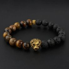 BRA1148 Hot sale tigereye & black lava beaded gold lion head men's bracelet