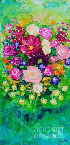 Pink Bouquet Painting by Julie Janney