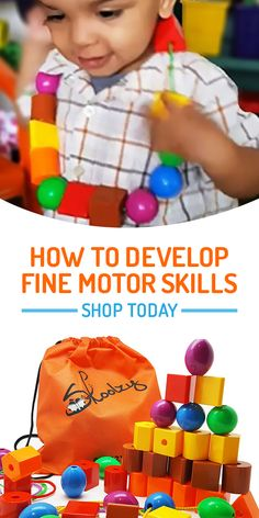 This educational beading activity toy helps develop fine motor skills, dexterity and hand-eye coordination. Pieces are jumbo sized, making them perfect for baby and toddler�s little hands. An ideal gift for a 2-year old boy or girl. Shop today at skoolzy.com.