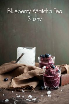A refreshing slushy made with pomegranate, blueberries and matcha tea that boasts a plethora of antioxidants.
