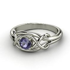 Infinity Knot Ring, Round Iolite White Gold Ring from Gemvara.  Would love this exact ring stone and everything for like the 5 year anniversary.