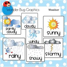 The weather cards can be sized to meet your needs (poster size, label size). This zip file is also complete wi. Kindergarden Art, Kindergarten Classroom, Classroom Themes, Classroom Clipart, Creative Teaching, Teaching Kids, Weather Like Today, Weather Cards, Education Icon