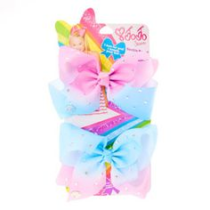 JoJo Siwa Small Pink & Blue Ombre Rhinestone Bestie Hair Bows
