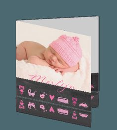 Hip foto geboortekaartje meisjes met schoolbord