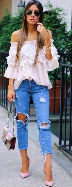 #summer #young #girls #outfits |  Ruffle Pink + Denim