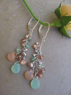 Seaside Chrysoprase, Pink Moonstone, Pearl, Andalusite and Niihau Shell Earrings. $70.00, via Etsy.
